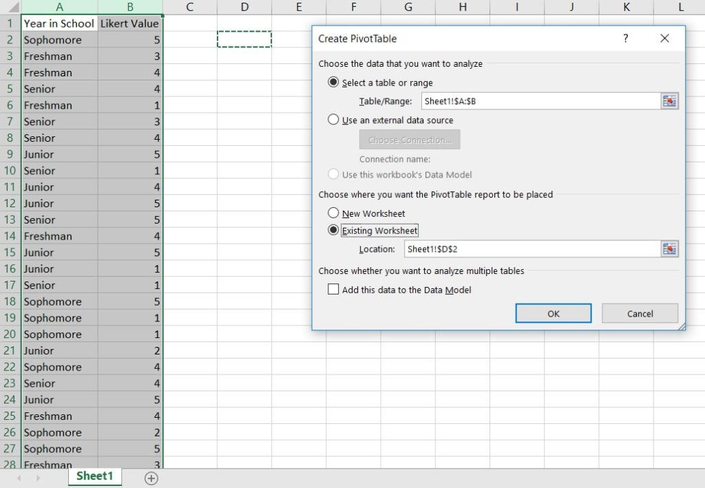 Insert menu for adding a pivot table in Excel